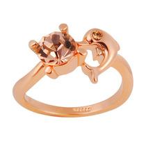 Anel Golfinho E Pedra Rose Banhado Ouro Rosê