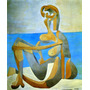 Pintura Abstrata Mulher Na Praia Grande Picasso Tela Repro