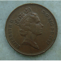 2304 Inglaterra 1987 Two Pence Elizabeth I I 26mm - Bronze
