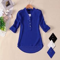 Camisa Blusa Feminina Chiffon Seda No Brasil