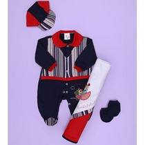 Kit Saída De Maternidade Marinheiro 4 Peças - Bebê Menino