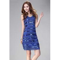 Vestido Lantejoulas Azul Importado Pronta Entrega Brasil