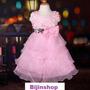 Vestido Infantil Festa/dama Rosa C/ Paetes Flores No Peito