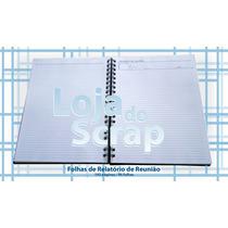 Miolo Refil Caderno Relatorio Reunioes Branco Furado 21x27
