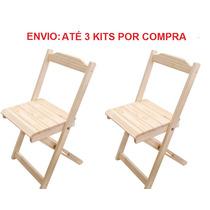 Cadeira De Bar Dobrável Madeira Maciça- 2 Unid Frete Gratis
