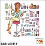 Adesivo Kit Salão De Beleza Tesoura Escova Secador Will417