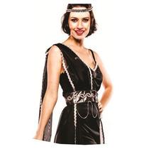 Fantasia Deusa Grega Vestido Preto Adulto Feminina Completa