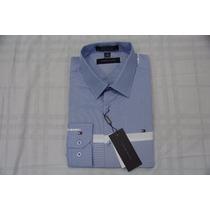 Camisa Social Masculina Tommy Hilfiger Cor Azul Aço