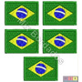 Bordado Termocolante - Bandeira Brasil E Países 3,5 Kit C/ 5