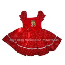 Vestido Festa Moranguinho Baby Vermelho Collant 1 A 4 Anos