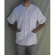 10 Jalecos Curtos - Branco, Azul - Sem Gola, 03 Bolsos