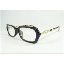 Armação Oculos De Grau Chique Preta Oncinha Decorada - A599