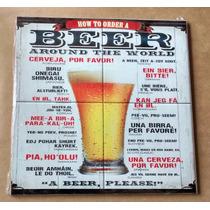 Quadro Bar Cozinha Churrasqueira Beer Cerveja Imita Azulejo
