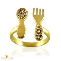 Anel De Ouro Vazado Formato De Talheres Com Diamantes An068