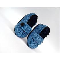 A239 Sapatinho De Croche Masculino Azul E Preto De Menino