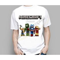 Camiseta Infantil Heróis Marvel Minecraft Steve Creeper