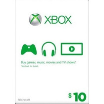 Xbox Live Gift Card $ 10 Dolares Us - 800 Microsoft Points
