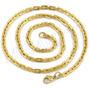 Cordão Masculino Elos Retangulares Dourada Aço Inox 4mmx60cm