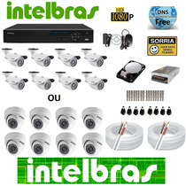 Kit 8 Camera S3020 Dvr Intelbras 8 Canais D1 Tudo Intelbras