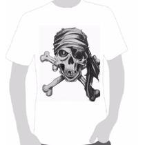 Camisa Estampa Caveira Skull Pirata Toppstamps