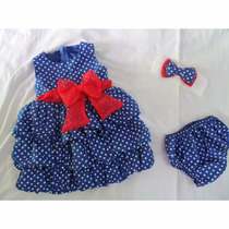 Vestido Infantil Azul Bolas Branca Balone
