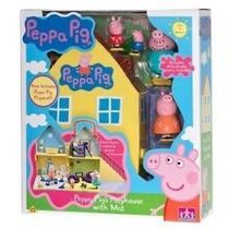 Casinha Luxo Família Peppa Pig 4 Bonecos + Brinde Receba Já