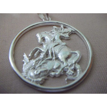 B. Antigo- Medalha De São Jorge Em Prata De Lei Frete Grátis