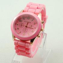 Relógio Feminino Geneva De Pulso Pulseira De Silicone