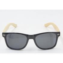 Óculos De Sol Bamboo Preto Madeira Uv400 Unisex
