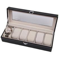 Estojo Porta Caixa Organizador Pespontado Luxo P/ 6 Relógios