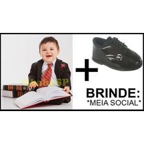 Terno Infantil Bebê - Risca De Giz + Sapato Social + Brinde