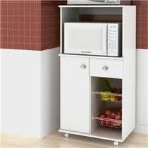 Gabinete Cozinha Balcão Microondas 2 Cestos Fruteira Branco