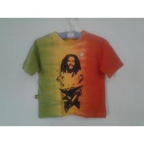 Camiseta Infantil Reggae Bob Marley Sentado Numero 02