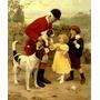 Cachorros De Caça Caçador Crianças Pintor Elsley Tela Repro