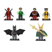 Kit 6 Bonecos Lego Dead Pool Batman Robin Loki Wolverine