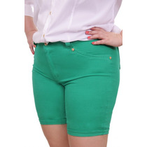 Bermuda Color Verde Plus Size Moda Maior Elastano Tam. 50