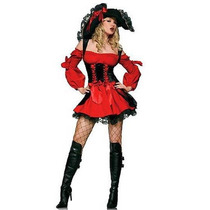 Fantasia Pirata Vermelha Luxo Pronta Entrega