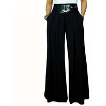 Calça Pantalona Em Viscolycra Com Passante De Cinto - Cod 09