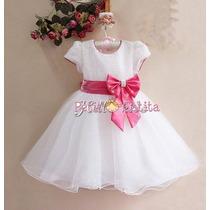 Vestido De Festa Branco Com Laço Rosa