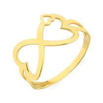 Anel De Ouro 18k Símbolo Infinito Com Formato De Coração
