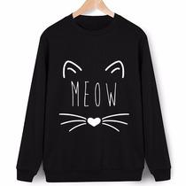 Moletom S/capuz Careca Meow Gatinho Cat Blusa De Frio Casaco