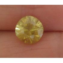 * 0,12 Cts Diamante Amarelo Natural Com Brilho Lindo