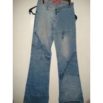 Calça Jeans Da Sawary C/ Elastano / Boca Larga Tam 40