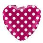 Balão Coração Pink C/ Bolinhas Poa Tam. 45cm Minnie Rosa