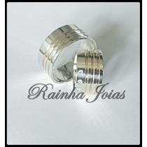 Par De Alianças De Prata 950 12mm + 6 Fios De Ouro + Pedras