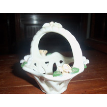 Anos50 Rara Cestinha Porcelana Italiana Flores Aplicadas