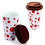 Copo Térmico Porcelana Silicone Bebida Café Vermelho #cops20