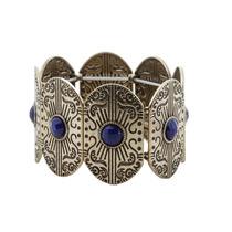 Bracelete Boho Dourado Envelhecido Azul - Unico