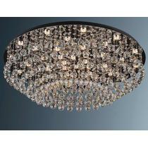 Lustre Para Sala De Cristal Bronzearte 18 Luzes 80x80x 40cm