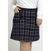Saia Tweed Xadrez Plus Size Elastano Moda Maior Tam 46 50 52
